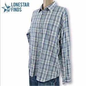 J Crew Blue Plaid Button Up Dress Shirt XL BB5